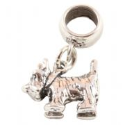 Scottie / Westie Dog 3D Sterling Silver Dangle Charm / Carrier Bead